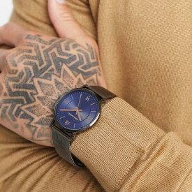 エイソス ASOS asos ASOSDESIGNステンレススチールメッシュウォッチ、ガンメタルのブルーダイヤル 時計 アクセサリー メンズ 男性 インポートブランド