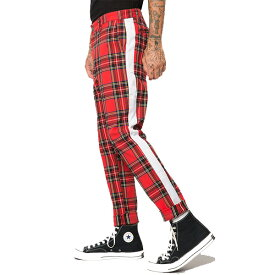 ELWOOD(エルウッド) メンズ タータンチェック柄 サイドラインジョガーパンツ スウェットパンツ 大きいサイズ インポート リゾート ストリート ファッション 日本未入荷 インスタ映え フェス 野外 男性 20代 30代 40代
