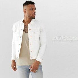 ASOS メンズ Gジャン デニムジャケット ホワイト ミッドウォッシュ アウター オシャレ トレンド インポート トップス 大きいサイズ 20代 30代 40代 ファッション コーディネート【送料無料キャンペーン】 小さいサイズあり