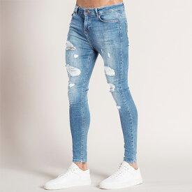 Bee Inspired Clothing(ビーインスパイアードクロージング) ダメージデニム ライトブルー 20代 30代 ファッション コーディネート スキニージーンズ メンズ 日本未入荷 インポートブランド ジーンズ メンズ スリム パンツ スリムデニム フェス