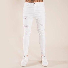 Bee Inspired Clothing(ビーインスパイアードクロージング) ホワイト ダメージ ジーンズ デニム メンズ 日本未入荷 インポートブランド スキニー ストレッチジーンズ メンズ スリム パンツ スリムデニム フェス 高身長