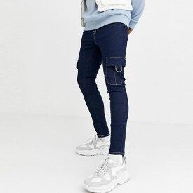 asos ASOS エイソス メンズ ASOS DESIGN ブルー カーゴポケット付き パワーストレッチジーンズ スプレー 大きいサイズ インポート エクストリームスーパースキニーフィット スウェットパンツ ジーンズ ジーパン 20代 30代 40代 ファッション コーディネート