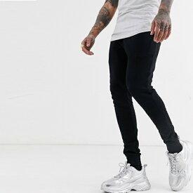 asos ASOS エイソス スーパースキニー メンズ メンズ スキニージョガー ジョガーパンツ スウェットパンツ ブラック ジョガー スキニーフィット ボトム ストレッチ トレンド 大きいサイズ インポート カジュアル 20代 30代 40代 50代 お洒落 小さいサイズあり