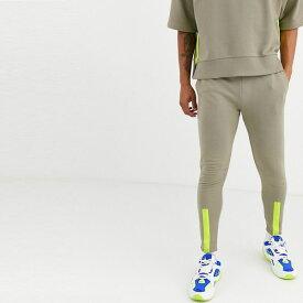 asos ASOS エイソス メンズ ASOS DESIGN ネオン カフ ディテール 共同 ORD テーパー ジョギング 大きいサイズ インポート エクストリームスーパースキニーフィット スウェットパンツ ジーンズ ジーパン 20代 30代 40代 ファッション コーディネート