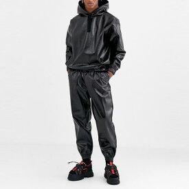 asos ASOS エイソス メンズ ASOS DESIGN ブラック ウェット ルックファブリック 共同 ORD テーパー ジョギング 大きいサイズ インポート エクストリームスーパースキニーフィット スウェットパンツ ジーンズ ジーパン 20代 30代 40代 ファッション コーディネート