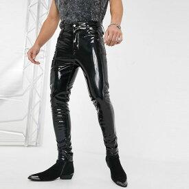 asos ASOS エイソス メンズ ASOS DESIGN ブラック ビニール ハイウエストスキニージーンズ 大きいサイズ インポート エクストリームスーパースキニーフィット スウェットパンツ ジーンズ ジーパン 20代 30代 40代 ファッション コーディネート