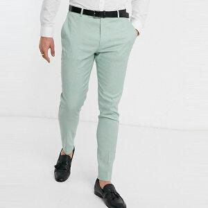 asos ASOS エイソス メンズ ASOS DESIGN ミントグリーン ストレッチ コットン リネン 結婚式 スーツ ズボン 大きいサイズ インポート エクストリームスーパースキニーフィット スウェットパンツ