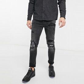 ASOSセレクト Topman asos ASOS エイソス メンズ Topman ウオッシュブラック 極端 リッピング 有機 スキニー ジーンズ 大きいサイズ インポート エクストリームスーパースキニーフィット スウェットパンツ ジーンズ ジーパン 20代 30代 40代 ファッション コーディネート
