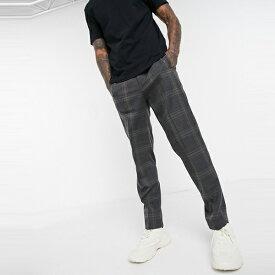 ASOSセレクト Selected Homme asos ASOS エイソス メンズ グレー テーパー ウエスト ゴム スマート チェック パンツ 大きいサイズ インポート エクストリームスーパースキニーフィット スウェットパンツ ジーンズ ジーパン 20代 30代 40代 ファッション コーディネート