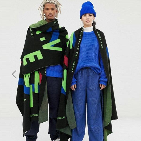 ASOSセレクトCOLLUSION メンズ スカーフ オシャレ ユニセックス 大判 大人 ジャカードプリント 日本未入荷 インポートブランド 大きいサイズ カジュアル トレンド 20代 30代 40代 edm フェス ファッション