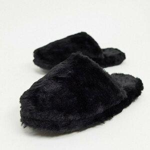リンデックス Lindex 黒のスリッパにLindexフェイクファースリップ 靴 レディース 女性 インポートブランド 小さいサイズから大きいサイズまで