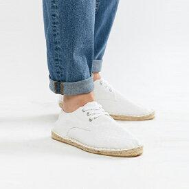 靴 シューズ asos ASOS エイソス メンズ ASOS DESIGN 白 テクスチャ キャンバス エスパドリーユ ひも 締めます 大きいサイズ インポート エクストリームスーパースキニーフィット スウェットパンツ ジーンズ ジーパン 20代 30代 40代 ファッション コーディネート