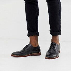 靴 シューズ asos ASOS エイソス メンズ ASOS DESIGN コントラスト ソール ブラック レザー ブローグ 靴 大きいサイズ インポート エクストリームスーパースキニーフィット スウェットパンツ ジーンズ ジーパン 20代 30代 40代 ファッション コーディネート