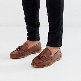 靴 シューズ asos ASOS エイソス メンズ ASOS DESIGN 自然 ソール タン レザー タッセル ローファー 大きいサイズ インポート エクストリームスーパースキニーフィット スウェットパンツ ジーンズ ジーパン 20代 30代 40代 ファッション コーディネート