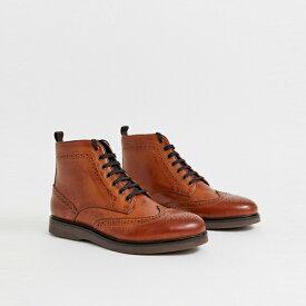 靴 シューズ ASOSセレクト Hudson London asos ASOS エイソス メンズ H by Hudson Calverston タン レザー ブローグブーツ 大きいサイズ インポート エクストリームスーパースキニーフィット スウェットパンツ ジーンズ ジーパン 20代 30代 40代 ファッション コーディネート
