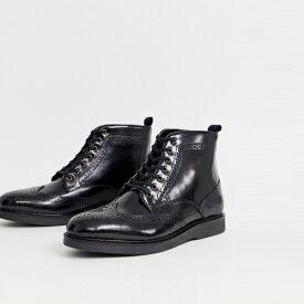 靴 シューズ ASOSセレクト Hudson London asos ASOS エイソス メンズ Calverston ハイシャイン ブラック ブローグブーツ 大きいサイズ インポート エクストリームスーパースキニーフィット スウェットパンツ ジーンズ ジーパン 20代 30代 40代 ファッション コーディネート