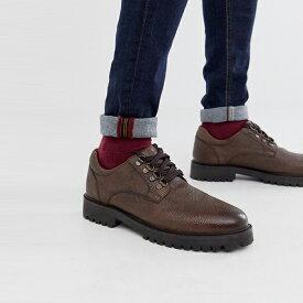 靴 シューズ ASOSセレクト WALK London asos ASOS エイソス メンズ WALK London 茶色 小石 革 ショーン ハイカー 靴 大きいサイズ インポート エクストリームスーパースキニーフィット スウェットパンツ ジーンズ ジーパン 20代 30代 40代 ファッション コーディネート
