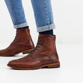 靴 シューズ ASOSセレクト Barbour asos ASOS エイソス メンズ Barbour Belford 日焼け 革 ブローグブーツ ひも 締めます 大きいサイズ インポート エクストリームスーパースキニーフィット スウェットパンツ ジーンズ ジーパン 20代 30代 40代 ファッション コーディネート