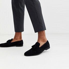 靴 シューズ asos ASOS エイソス メンズ ASOS DESIGN ブラック フェイク スエード タッセル ローファー 大きいサイズ インポート エクストリームスーパースキニーフィット スウェットパンツ ジーンズ ジーパン 20代 30代 40代 ファッション コーディネート