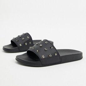 靴 シューズ asos ASOS エイソス メンズ ASOS DESIGN スタッズ付き スライダー 大きいサイズ インポート エクストリームスーパースキニーフィット スウェットパンツ ジーンズ ジーパン 20代 30代 40代 ファッション コーディネート