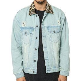ELWOOD(エルウッド) メンズ アウター デニムジャケット Gジャン ジャケット ダメージ チータープリント襟 デニム メンズ 大きいサイズ インポート リゾート ストリート ファッション 日本未入荷 インスタ映え フェス 野外 男性 20代 30代 40代