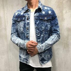 Gentleman To Be(ジェントルマントゥービー)ブリーチ star 星柄 デニムジャケット アウター 20代30代40代 日本未入荷 大きいサイズあり 流行 最新 メンズカジュアル edm フェス ファッション 京都のセレクトショップdivacloset