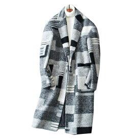 チェスターコート メンズ コート ウールコート チェック柄 シンプル コート メルトンコート ビジネスコート ロング ジャケット ウール オーバーコート 秋冬 冬服 秋 暖か 真冬 コート 暖コート アウター チェスター ステンカラー オーバーサイズ メンズ 大きいサイズあり