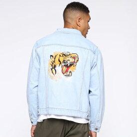LA発!FASHION NOVA(ファッションノバ) インポートブランド メンズ タイガー刺繍 デニム jacket デニムジャケット 日本未入荷 大きいサイズあり 流行 最新 メンズカジュアル edm フェス ファッション ホワイト