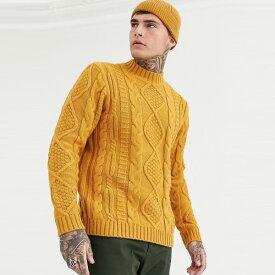 マスタードのASOS DESIGNヘビーウェイトケーブルニットタートルネックジャンパー 20代 30代 40代 ファッション コーディネート 大きいサイズあり