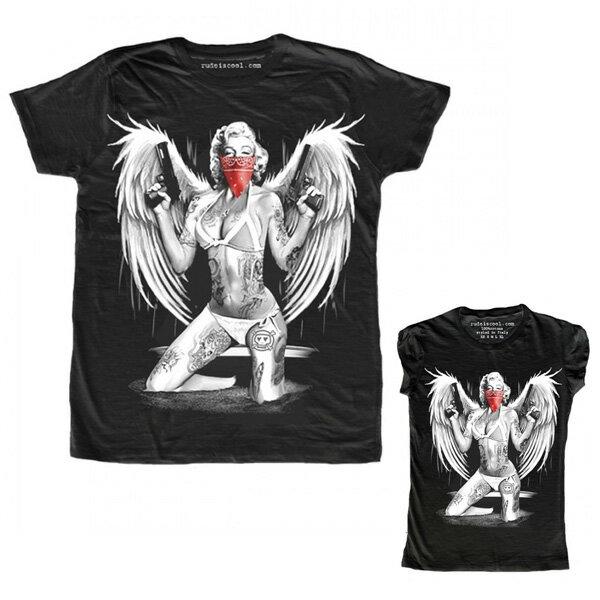 RUDE(ルード)ルード tシャツ イタリア エンジェル Tシャツ ブラック 20代 30代 40代 ファッション コーディネート 大きいサイズ 日本未入荷 半袖 メンズ カジュアル ユニセックス メンズ 大人 男性 女性 レディース プリントt