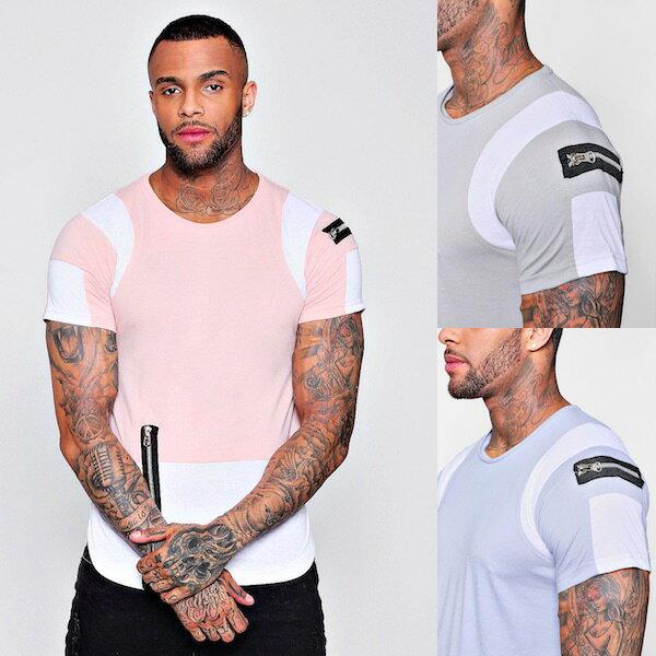 boohoo(ブーフー)メンズ トップス Tシャツ T-Shirt ハーフスリーブ 半袖 カラーブロック カーブヘム オシャレ トレンド インポート 大きいサイズ 20代 30代 40代 オシャレ ファッション コーディネート トレンド カジュアル アウトフィット