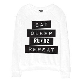 RUDE(ルード)EAT SLEEP トレーナー スウェット 長袖 20代 30代 40代 ファッション コーディネート 大きいサイズ 日本未入荷 インポート メンズ カジュアル ユニセックス メンズ 大人 プレゼント レディース S M L XL インスタ映え プリント Tシャツ フォトt