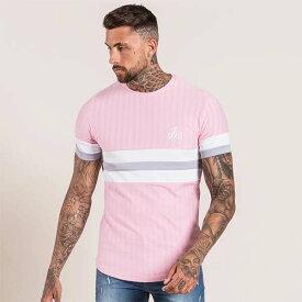 Bee Inspired Clothing(ビーインスパイアードクロージング) ロゴ 刺繍 コントラスト ストライプ Tシャツ ピンク トップス 半袖 日本未入荷 インポートブランド 20代 30代 40代 ジム フェス 小さいサイズあり 高身長