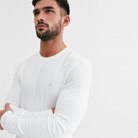 Calvin Klein カルバンクライン ホワイト メンズ コットン トップス プルオーバー メンズ 長袖 ロングスリーブ フェス トレンド インポート 大きいサイズあり 流行 最新 メンズカジュアル カルバンクライン 小さいサイズあり