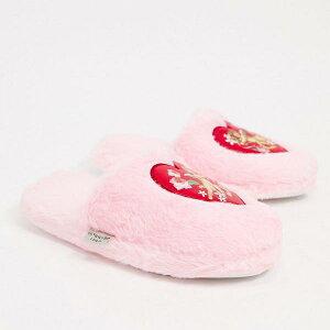 スキニーディップ Skinnydip ピンクのSkinnydipcherubふわふわスリッパ 部屋着 レディース 女性 インポートブランド 小さいサイズから大きいサイズまで