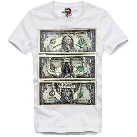 E1SYNDICATE(イーワンシンジケート)マネー お金 ドクロ スカル Tシャツ 20代 30代 ファッション コーディネート オシャレ トレンド T-シャツ 日本未入荷 インポート シンジケート 半袖 ホワイト 白 XS S M L XL XXL divacloset edm フェス ファッション フォトプリント