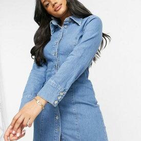 エイソス ASOS asos ASOSDESIGN砂時計デニムフィットシャツドレス(ブライトブルー) ワンピース レディース 女性 インポートブランド 小さいサイズから大きいサイズまで