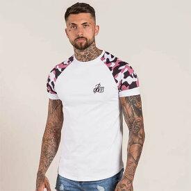 Bee Inspired Clothing(ビーインスパイアードクロージング) 迷彩 袖プリント ロゴ Tシャツ ホワイト トップス 半袖 日本未入荷 インポートブランド 20代 30代 40代 ジム フェス 小さいサイズあり 高身長