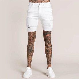 Bee Inspired Clothing(ビーインスパイアードクロージング) ダメージデニム ショートパンツ ハーフ パンツ ジーンズ ホワイト 日本未入荷 インポートブランド 20代 30代 40代 メンズ フェス 小さいサイズあり