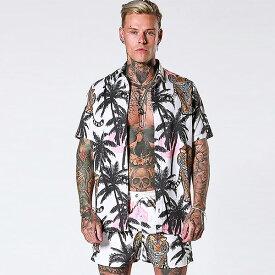 SINNERS ATTIRE(シナーズアタイア)メンズ 虎 ヤシの木 柄 シャツ アロハシャツ ブラウス シャツ 半袖ハーフスリーブ オシャレトレンド インポート トップス 大きいサイズ 20代 30代 40代 ファッション コーディネート