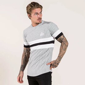 Bee Inspired Clothing(ビーインスパイアードクロージング) ロゴ 刺繍 コントラスト ストライプ Tシャツ グレー トップス 半袖 日本未入荷 インポートブランド 20代 30代 40代 ジム フェス 小さいサイズあり 高身長