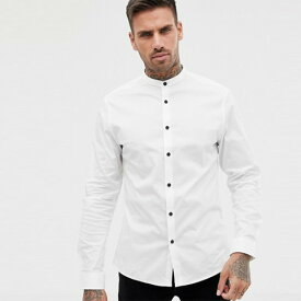 ASOS メンズ トップス 長袖 white 白シャツ シャツ ブラウス フィットサイズ 20代 30代 40代 ファッション コーディネート小さいサイズから大きいサイズまで オシャレ トレンド Tシャツ インポート トレンド