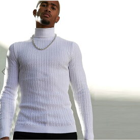 ASOS メンズ トップス 長袖 マッスルフィットケーブルロールネックジャンパーホワイト 20代 30代 40代 ファッション コーディネート小さいサイズから大きいサイズまで オシャレ トレンド Tシャツ インポート トレンド 京都のセレクトショップdivacloset