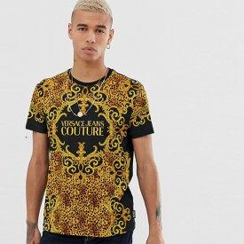 Versace Jeans Couture ヴェルサーチジーンズクチュール ヒョウバロックプリントのヴェルサーチジーンズクチュールTシャツ メンズ Tシャツ 半袖 大人カジュアル