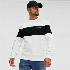 Calvin Klein カルバンクライン Calvin Klein Jeans カルバンクラインロゴカラーブロックスウェット(ホワイト/ブラック)小さいサイズから大きいサイズまで