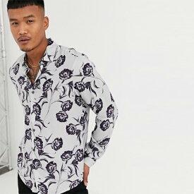 ASOS DESIGN レギュラー フィット フローラル シャツ グレー シャツ トップス 長袖 インポート 大きいサイズ 20代 30代 40代
