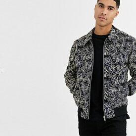 asos  メンズ  花の刺繍 ハリントンジャケット  大きいサイズ インポート