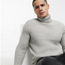 Burton Menswear グレー チャンキー ロール ネック ジャンパー トップス 長袖 インポート 大きいサイズ 20代 30代 40代