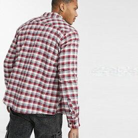 boohooMAN ブーフーマン レッド オーバーサイズ ロングスリーブ チェックシャツ 長袖 インポート 大きいサイズ 20代 30代 40代