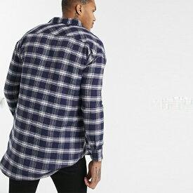 boohooMAN オーバーサイズ ロングスリーブ チェックシャツ ネイビー 長袖 インポート 大きいサイズ 20代 30代 40代